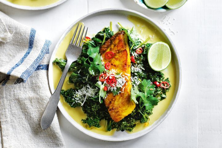 Barramundi with Coconut Spinach