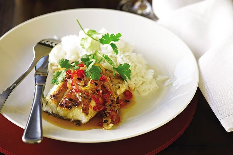 Barramundi with Ginger and Passionfruit Sauce