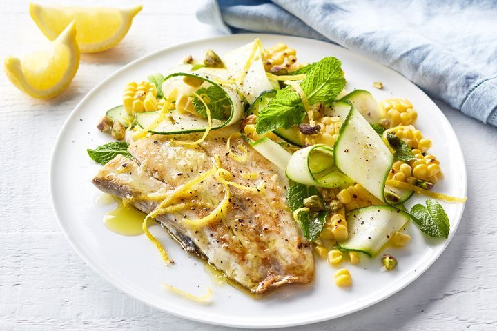 Barramundi with Grilled Corn Salad