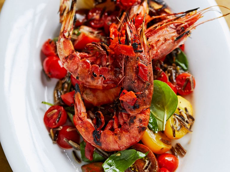 Chargrilled Tiger Prawns, Black Rice and Roast Chilli Salsa