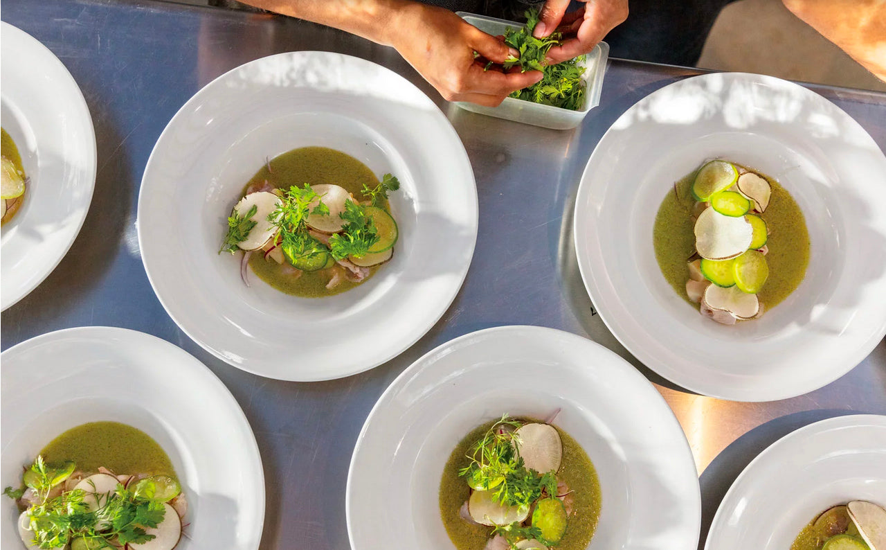 Chilled Shrimp and Scallops in Spicy Tomatillo Sauce