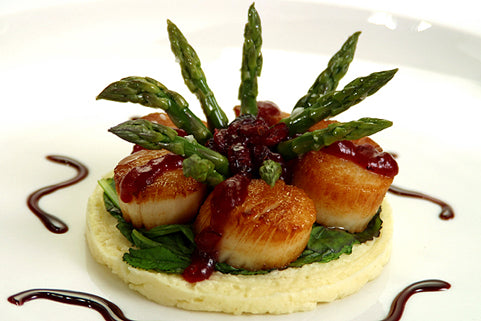 Clearwater Sea Scallops with Cranberry Chutney, Celery Root and Mustard Greens