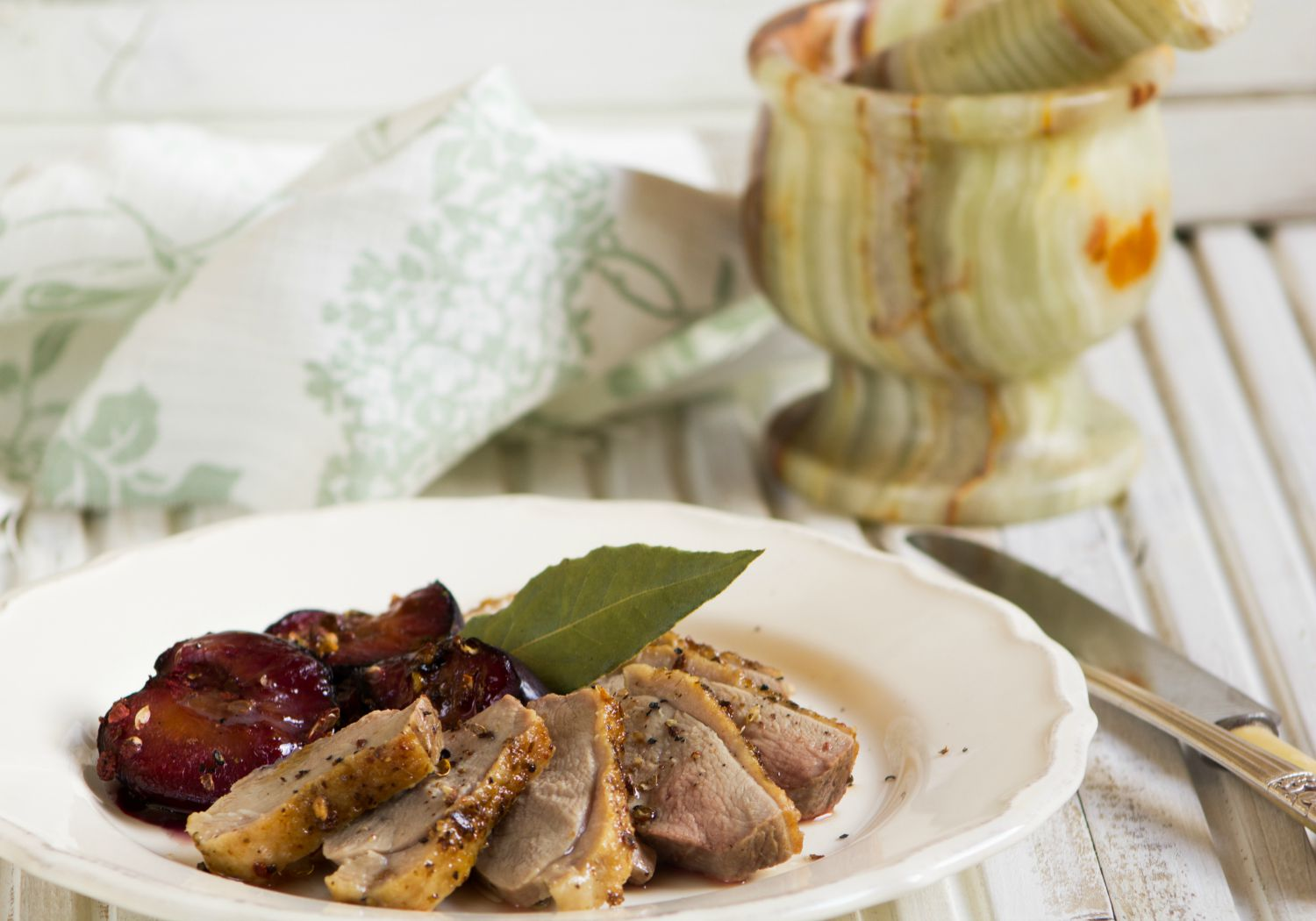 Duck breast with roasted plums, ginger and Szechuan pepper