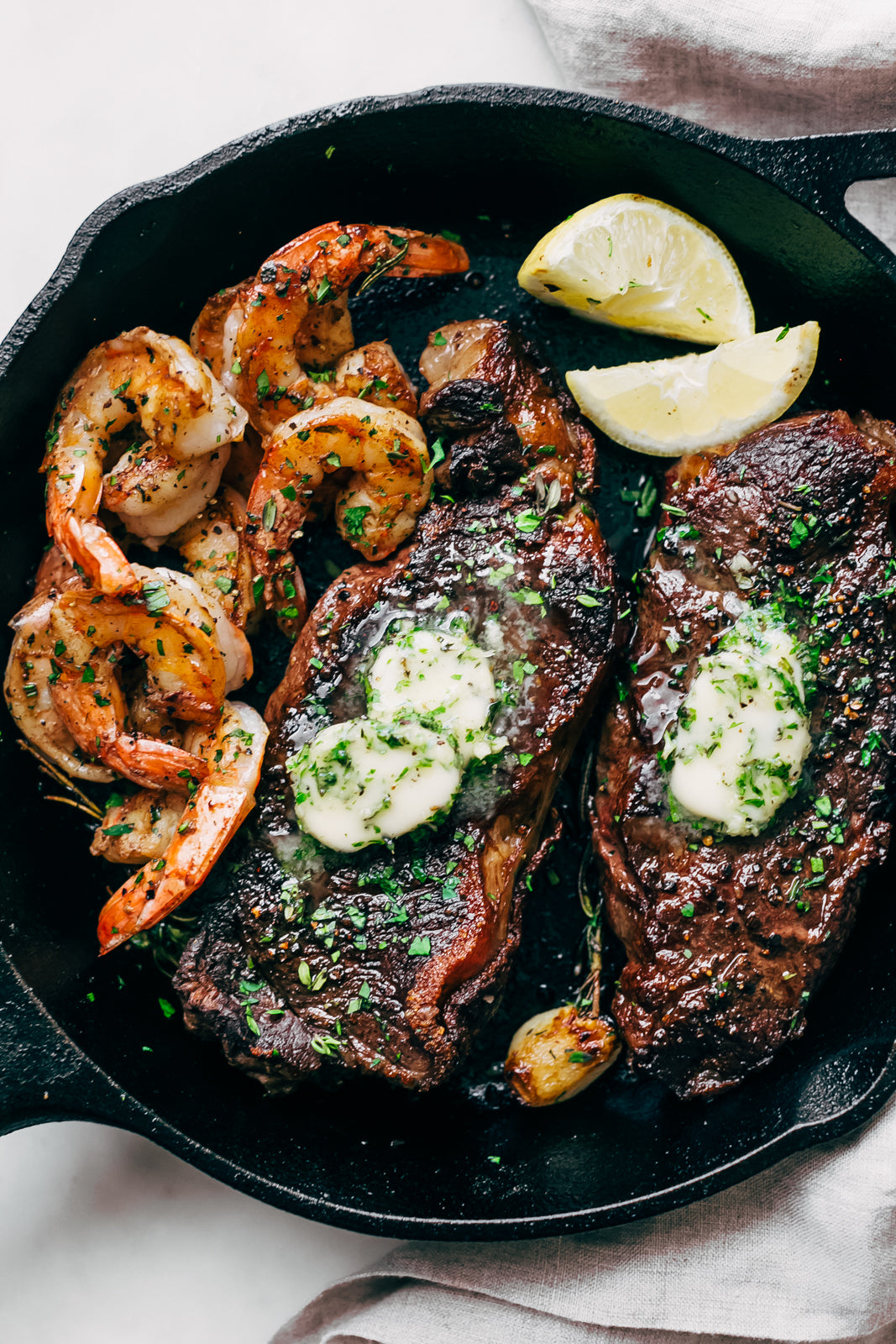 Garlic Butter Skillet Steak and Shrimp