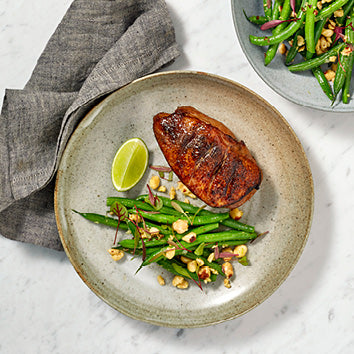 Honey Soy Glazed Duck Breast With Green Beans And Toasted Hazelnuts