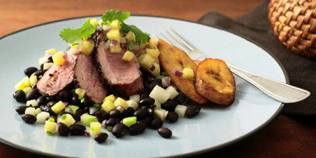 Jerk Pork Tenderloin with Chayote Black Beans