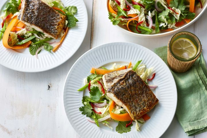 Pan-Fried Barramundi and Asian Coleslaw