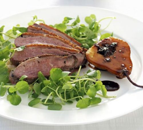 Pan-fried Duck Breast with Creamed Cabbage, Chestnuts & Caramelised Pear