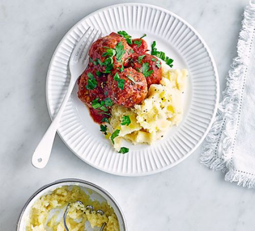 Pork & Pepper Meatballs on Parsnip Mash