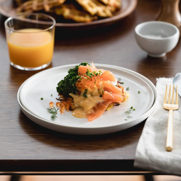Potato waffles with Huon Smoked Salmon, Silky Eggs and Salmon Caviar