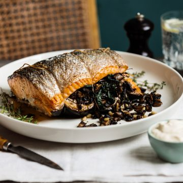 Roast Huon Salmon with Mushrooms and Thyme
