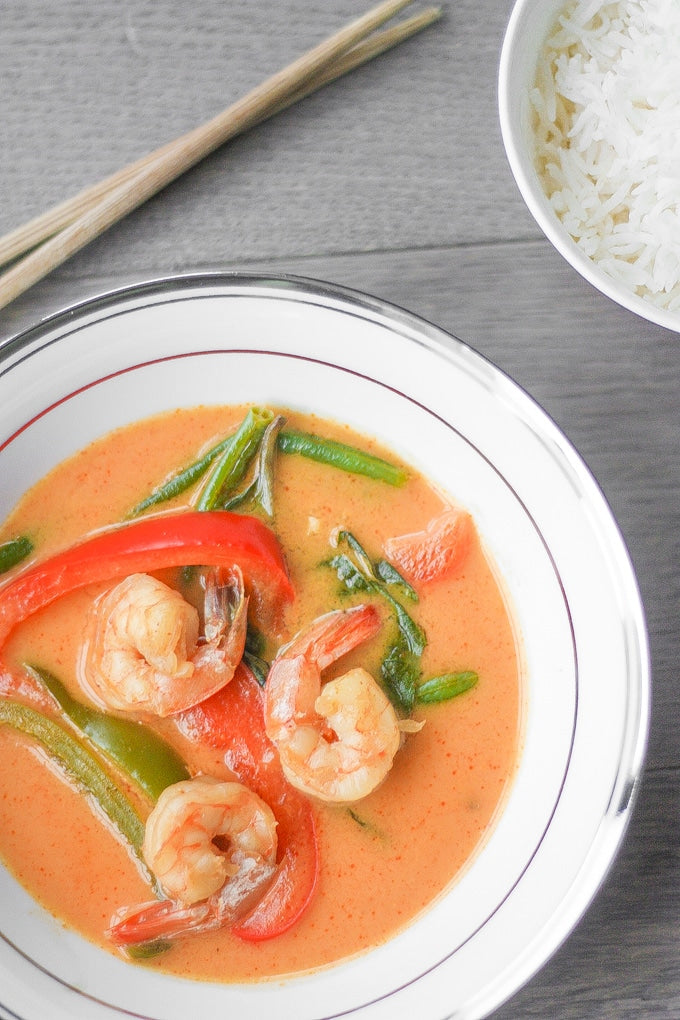 Thai Coconut Red Curry with Prawns