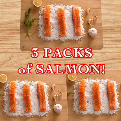 FROZEN - 3 x of 5 portion packs salmon
