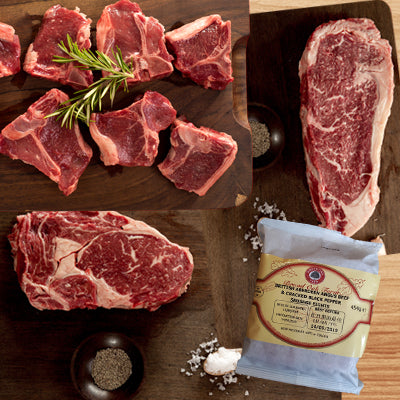 FROZEN Grill Sensation - 2x300gm rib eye steaks, 2x300gm sirloin steaks, 8xlamb loin chops, 2xpackets beef sausages - Farmers Market Limited