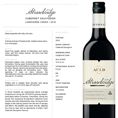 Auld Family Wines, Strawbridge Cabernet Sauvignon 2016 x 12 bottles - Farmers Market Limited
