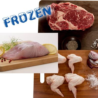 FROZEN BBQ for 4 - 2 x 300gm Rib Eye steaks, 2 x Barramundi Fillets, 1 x chicken wings pack