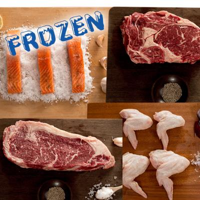 FROZEN Bigger BBQ - 2 x 300gm Rib Eye Steaks, 2 x 300gm Sirloin Steaks, 5 x portions of salmon, 1 x packet of chicken wings - Farmers Market Limited