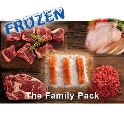 FROZEN Family Pack - 2 x 300gm Rib Eye Steaks, 8 x lamb loin chops, 1 x 5 portion salmon pack, 2 x 500gm lean beef mince, 1 x Aust Whole Chicken