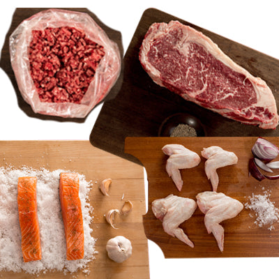 FROZEN Pack - 2 Sirloin Steaks, 1 packet chicken wings, 1 twin pack salmon, 2 x 500gm lean beef mince - Farmers Market Limited