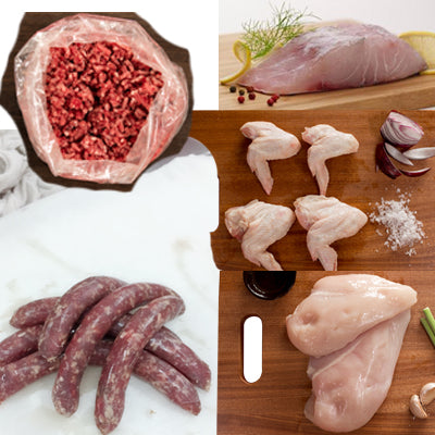 FROZEN Staples 1 - 500gm Beef Mince, 1xBeef sausages, 1xChicken Wings, 1xChicken Breast, 2xBarramundi - Farmers Market Limited