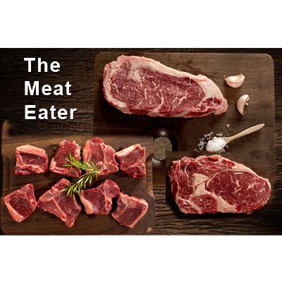The Meat Eater - 2 x 300gm sirloin steaks, 2 x rib eye steaks, 8 lamb loin chops