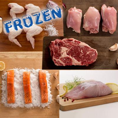 FROZEN Ultimate - 1 x 5 portions salmon, 1 x 5 portions barramundi, 4 x 300gm rib eye steaks, 1 x chicken wings pack, 1 x chicken thigh pack - Farmers Market Limited
