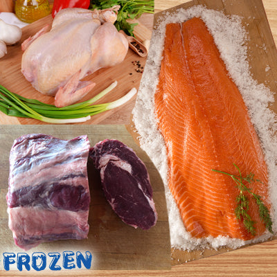 FROZEN - Xmas Pack: Whole Chicken, Whole Salmon Fillet & 2kg Rib Eye