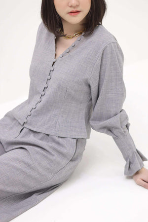 Willow Blouse Charcoal - EESOME