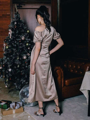 Arabelle Dress Bronze Khaki EESOME