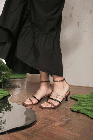Bora Strappy Heels Brown/Black EESOME
