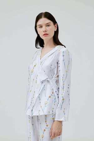 Alessa Printed Wrap Top - EESOME