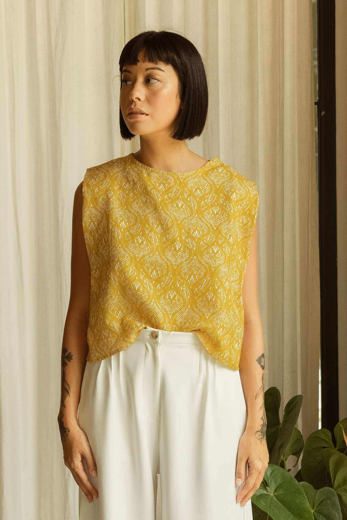 Joan Top Printed Yellow - EESOME