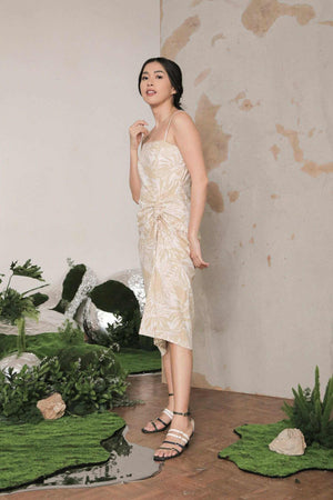 Sarah Dress Khaki Palm EESOME