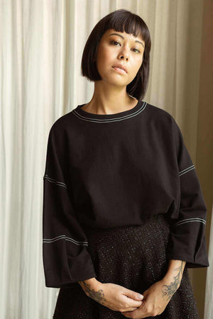 Kana Sweat Blouse Black - EESOME