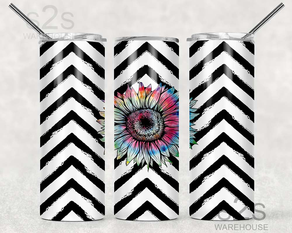 Tumbler Transfer - Chevron Flower 343