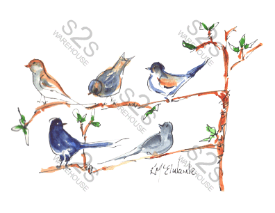 Art  by KM - Birds In Tree - Sublimation Print