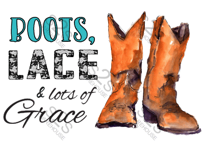 Art  by KM - Boots Lace and Lots of Grace - Sublimation Print