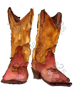 Art by KM - Boots Gold / Red - Sublimation Print