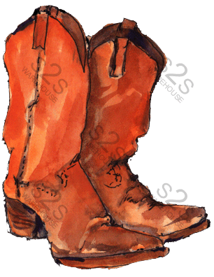Art by KM - Boots Orangish - Sublimation Print