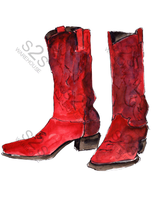Art by KM - Boots Red - Sublimation Print