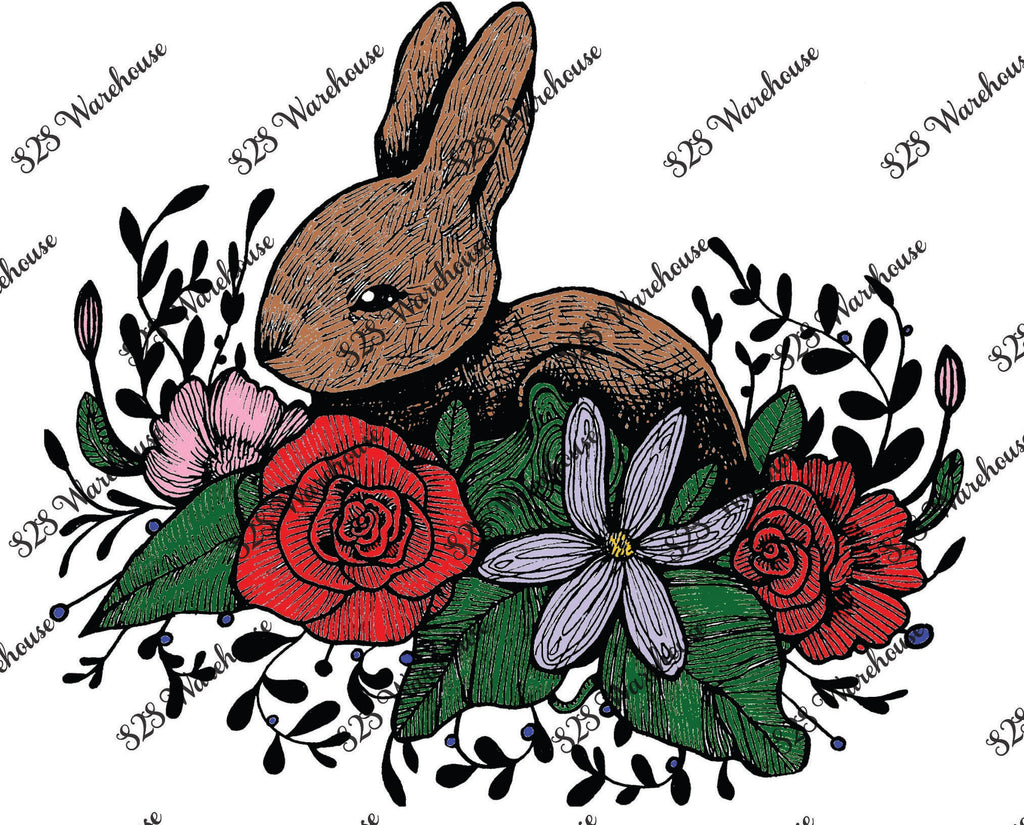Sub Print - Rabbit in Flowers Color