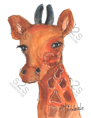 Art  by KM - Giraffe Head 1 - Sublimation Print