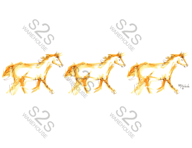 Art by KM - Golden Horses - Sublimation Print