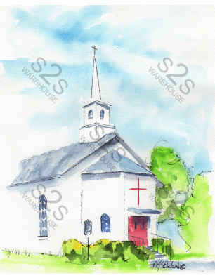 Art by KM - Leander Presbyterian Church - Sublimation Print
