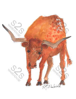 Art  by KM - Longhorn 1 - Sublimation Print
