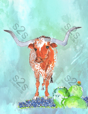 Art  by KM - Longhorn with background - Sublimation Print