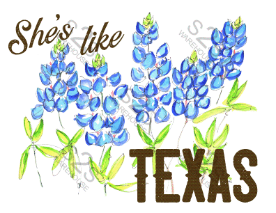 Art  by KM - She's Like Texas - Sublimation Print