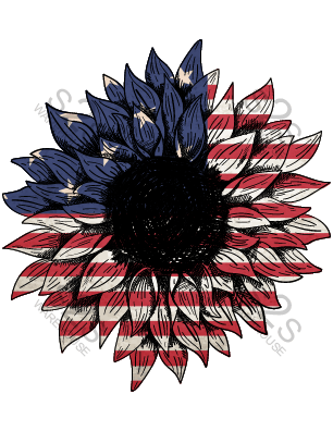 Sunflower with Flag Print