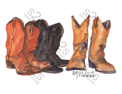 Art  by KM - Three Boots - Sublimation Print