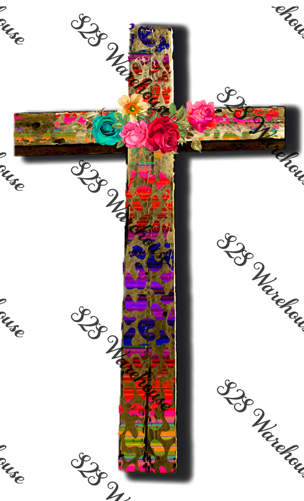 Cheetah Floral Cross